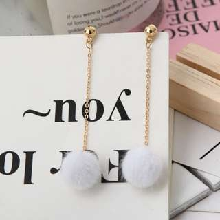 [A79] Pom Pom Dangling Minimalistic Earrings