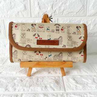 Flap Accordion Ladies Everyday Fabric Long Wallet (V2) - *Dog Parade*