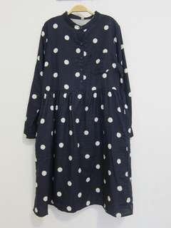 🚚 全新。大尺碼點點🍭棉麻連身裙