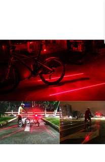 Bike Accessory 2 Laser Tail Lamp 5 LED Bicycle Rear Light