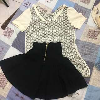🚚 雪紡上衣+棉裙