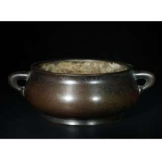 大明宣德年製款銅蚰龍耳爐
