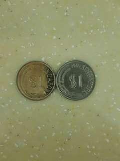 1 dollar coins (1969, 1971)