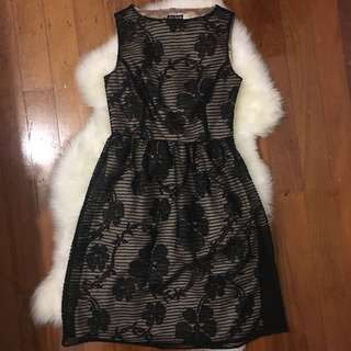 TARGET Black/Cream White A-Line Dress