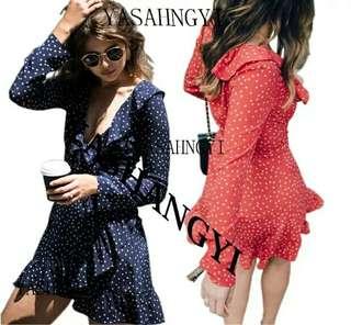 歐美時尚休閒渡假日韓系復古甜美性感俏皮荷葉滾邊v領連身短洋裝裙(藍)