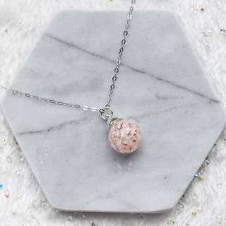 (Pink) Babys Breath Dried Flower Necklace