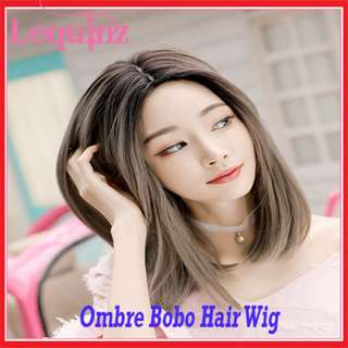 Full Head Bobo Hair Wig Black to Ash Linen Gray