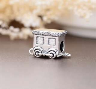 Code MS455 - Train 100% 925 Sterling Silver Charm, Chain Is Not Included, Compatible With Pandora, Total 4 pieces For A Set