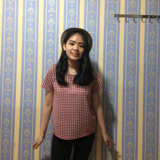 Red Houndstooth Top