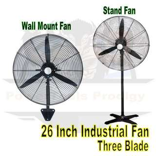 "[NEW] 26"" / 26 INCH INDUSTRIAL STAND FAN / WALL MOUNTED FAN"
