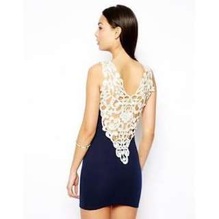 Club L Crochet Sexy Fitted Navy Dress