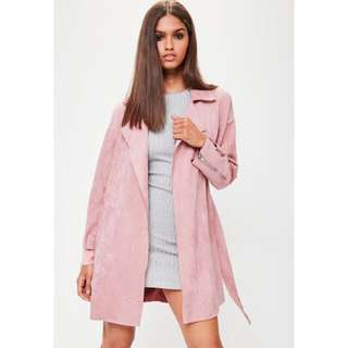 Pink suede trench coat missguided