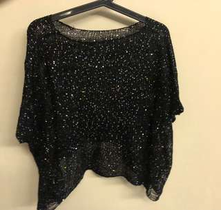 Black crotchet top with gold sequins detail
