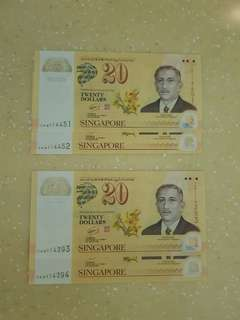 20 Dollar Notes (Running Numbers)