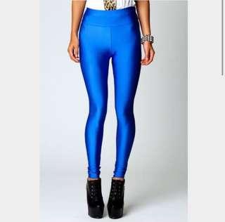 High waisted Electric Blue Disco Leggings