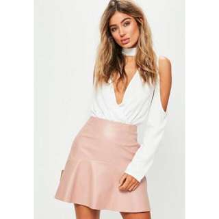 Missguided faux leather pink skirt