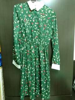 全新/綠色小洋裝 小碎花