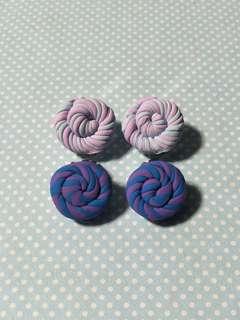 Swirl Marshmallow Lollipop Clip-On Earrings