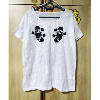 🎠 FLASH DEAL - Plus Size White Base Oversize Black Floral Lace Dolly Korea Basic Casual Top