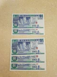 1 Dollar Notes (Vintage Boat Running Numbers)