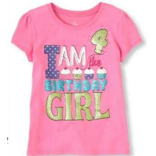 Girl Fourth Birthday Graphic Tee 2