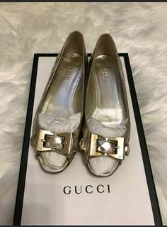 Gucci Shoes 香檳金露指平底鞋 37號