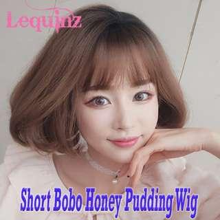 Instocks Short Full Head Bobo Hair Wig Honey Pudding