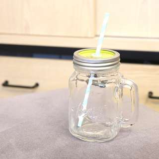 Mason Jar 梅森玻璃杯瓶 Changeable Cover 可換蓋 Green 綠色 (400ml)