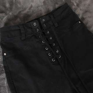 LACEUP HIGHWAISTED JEANS RRP$65
