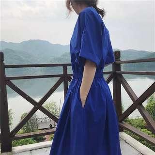 超美的藍~復古顯白收腰連身洋裝