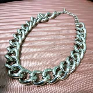 Silver Chunky Metal Statement Chain Necklace