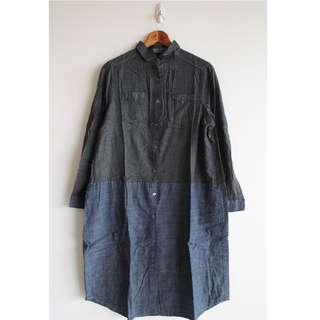日系個性拼接長袖襯衫連身裙