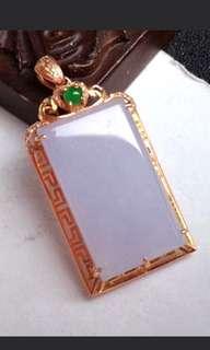 🍀18K Gold - Grade A 冰糯 Lavender 平安无事牌 Jadeite Jade Pendant🍀