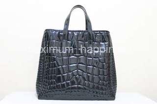 AUTHENTIC YVES SAINT LAURENT YSL XL RASPAIL CROC STAMP PVC PATENT TOTE / BAG