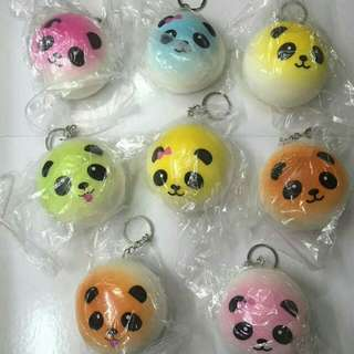 Squishy Colored Panda Bun Keychain