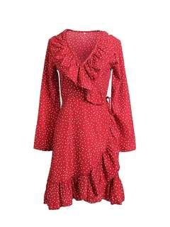 (Preorder) Ruffle Polka dot Dress