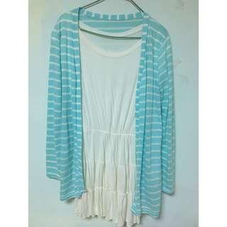 🚚 兩件式藍色條紋清新白色洋裝
