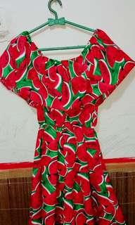 Dress motif semangka lucu