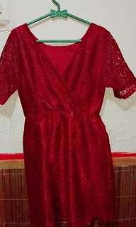 Dress kebaya merah maroon