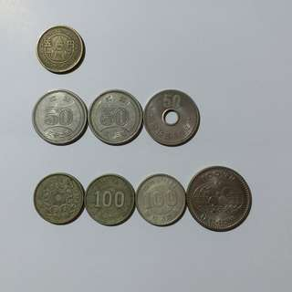 【錢幣收藏】日本舊硬幣(8個)