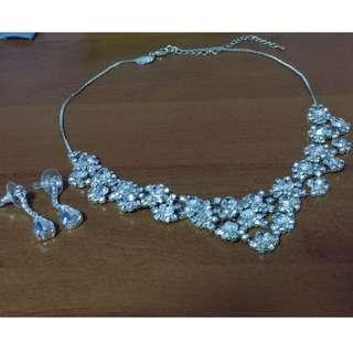 Wedding Bride Bridal Necklace & Earring Set White Crystal