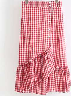 Red checked frill skirt