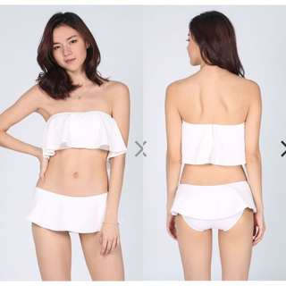 BN Love bonito ruffle white swim wear