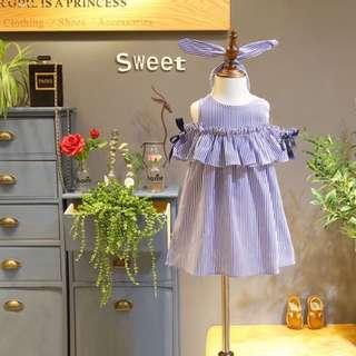 Girls Casual Stripe Dress