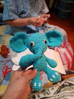 Handmade! Elephant Crochet Stuffed Doll