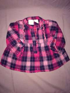 Baby's plaid top and pink top