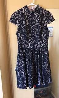 Nicholas navy blue lace dress size 6