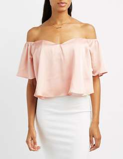 Charlotte Russe Satin Nude Pink Off Shoulder