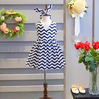 Girls V-Neck Stripe Dress