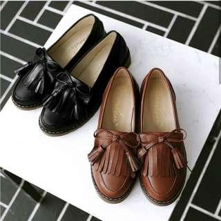 復古流蘇皮平底鞋(需要訂)